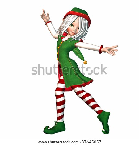 Christmas Elf posing - stock photo