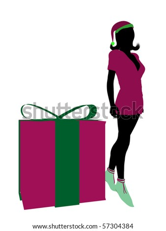 Christmas elf standing next to a gift box illustration silhouette on a white background