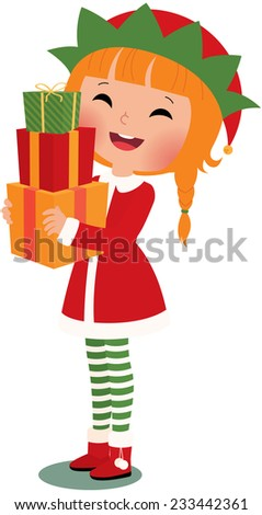 Christmas elf with christmas gifts on a white background/Christmas elf on a white background/Illustration Christmas Elf with a white background in full length - stock photo