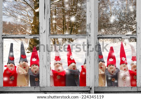 Christmas Elves decorations. Product made from salt and flour - stock photo
