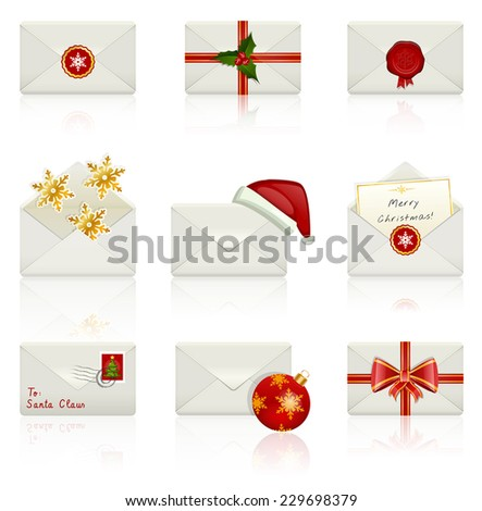 Christmas envelopes isolated on white background. Set of celebratory icons. Raster copy. - stock photo