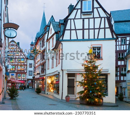 Christmas Eve in Bernkastel-Kues, Germany.  - stock photo