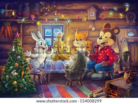 Christmas evening. Digital painting. - stock photo