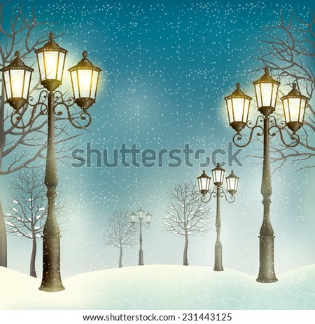 Christmas evening landscape with vintage lampposts. - stock photo