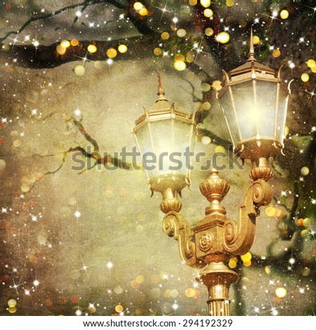 Christmas evening winter landscape with vintage lampposts - stock photo