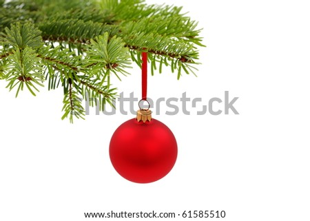 Christmas evergreen tree and glass ball - stock photo