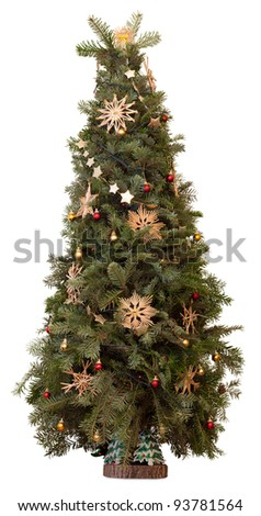 Christmas evergreen tree decorated with balls and golden straw stars. Isolated on white - stock photo