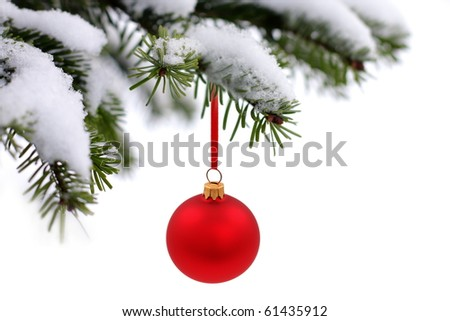Christmas evergreen tree, glass ball and snow - stock photo