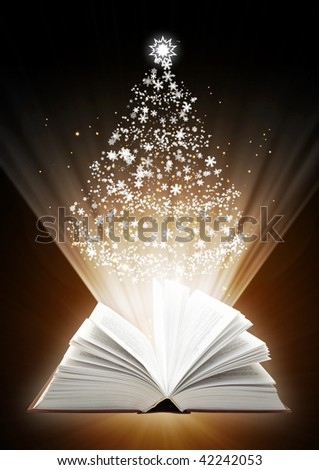 Christmas fairy-tale. Vertical background with magic book - stock photo