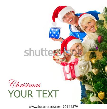 Christmas Family isolated on white - stock photo