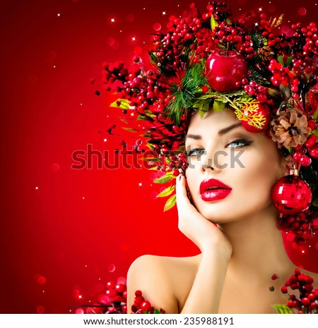 Beautiful Woman Wild Rose Branches On Stock Photo