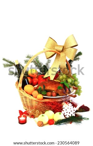 Christmas feast - duck with dumplings in basket  - stock photo