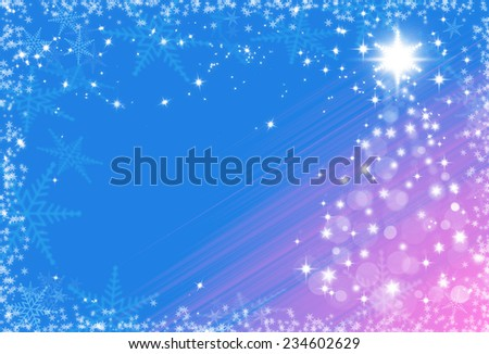 Christmas festive background with snowflakes frame and Christmas tree - stock photo