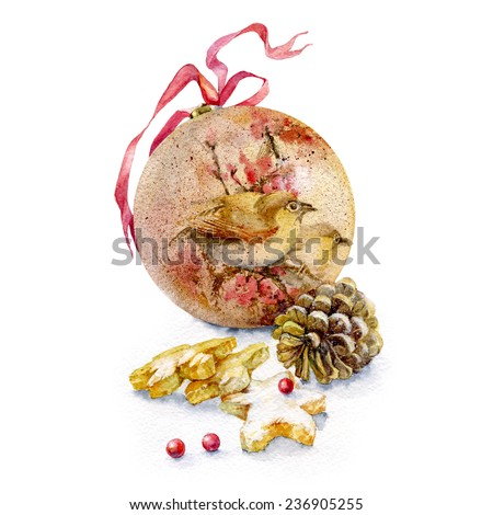 Christmas festive card with Christmas tree ball , decorated with images of birds and red ribbon with fir cones, cookies sprinkled with powdered sugar and a pair of red berries. - stock photo
