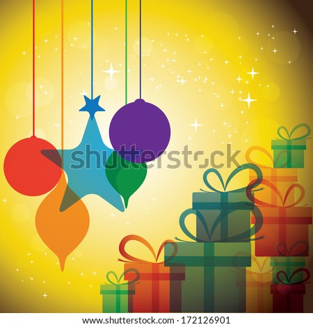 christmas festive celebrations with gift boxes & baubles - illustration. The concept graphic can represent festivals like x-mas or xmas, new year, birthday & wedding events, etc - stock photo