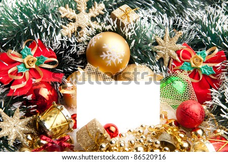 Christmas festive decoration.Christmas card background.. Decoration Border design isolated on white.