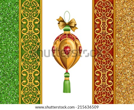 Christmas festive ornaments isolated on white background, holiday design elements set, ball and bow illustration - stock photo