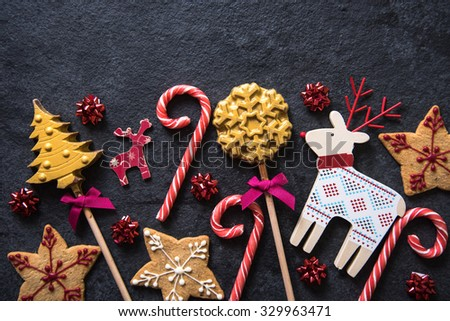 Christmas festive sweets food border background with copy space - stock photo
