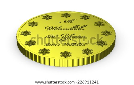 Christmas finance, golden New Year coin with wish of wealth isolated on white background with shadow - stock photo