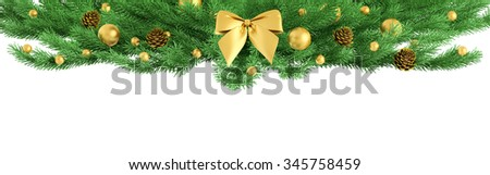 Christmas fir branch ornament with golden bow, baubles, pine cones isolated 3d rendering - stock photo