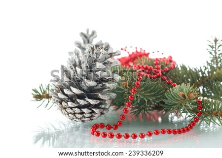Christmas fir-cone with fir branches on a white background - stock photo
