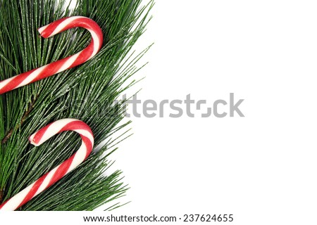 christmas fir tree and candy cane on white background - stock photo