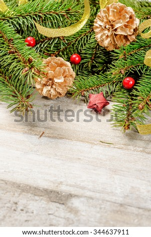 christmas fir tree and decorations