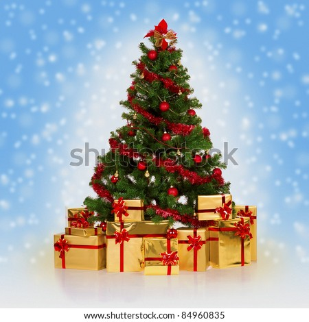 Christmas fir tree and gifts over blue background with snowflakes.