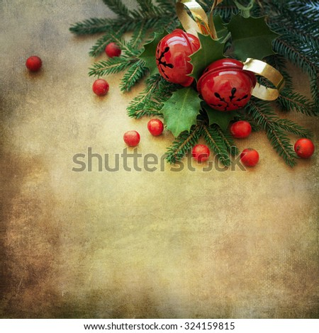 Christmas Fir Tree Border over Vintage background