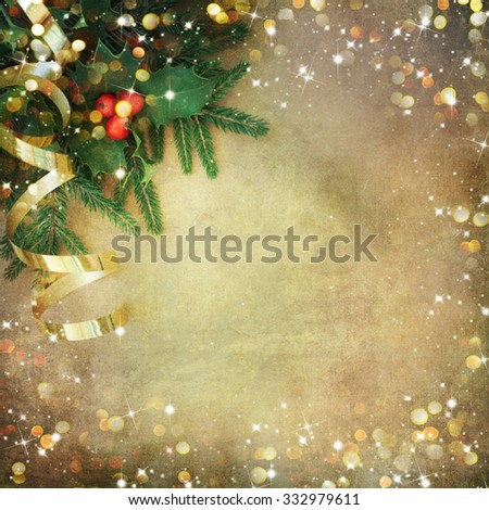 Christmas Fir Tree Border over Vintage background - stock photo