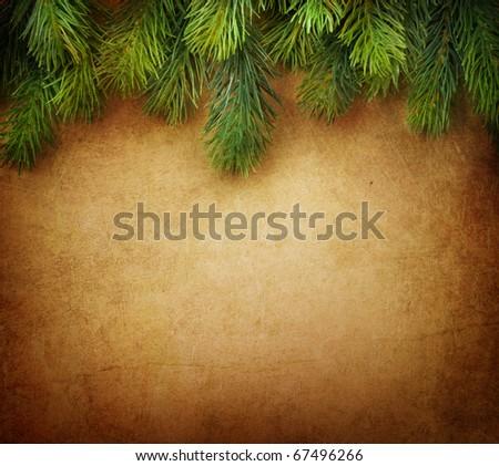 Christmas Fir Tree Border over Vintage background - stock photo