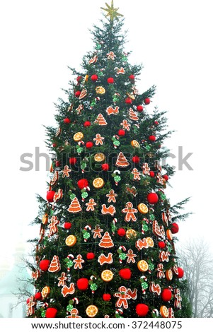 balls christmas tree christmas tree with decorations isolated on white