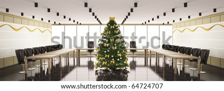 Christmas fir tree in modern boardroom interior panorama 3d - stock photo