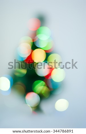 Christmas Fir Tree Lights in Defocused Boke, vintage effect