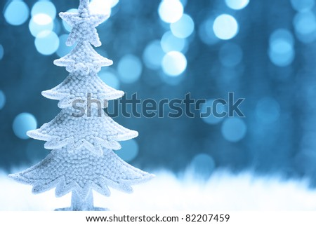 Christmas fir tree model on abstract background.Shallow Dof. - stock photo