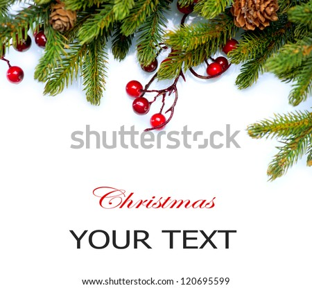 Christmas..Fir tree.Pine tree. Evergreen Border Design.Frame.Isolated on a white background - stock photo
