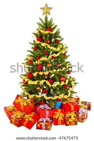 Christmas fir tree with colorful lights and decorations. - stock photo