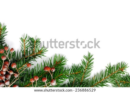 Christmas fir tree with decoration isolated on white background - stock photo