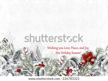 Christmas fir tree with holly on a wooden board.Greeting Card - stock photo