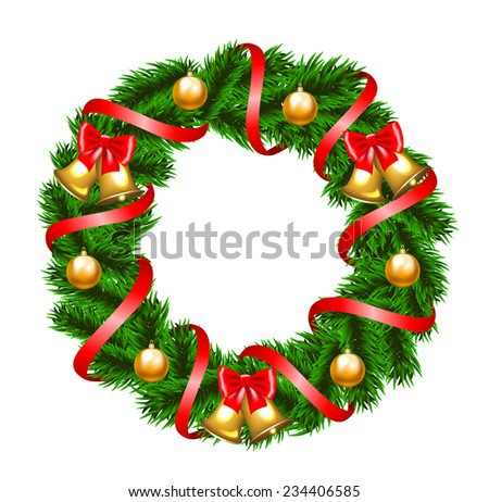 Christmas fir-tree wreath with bow and baubles - stock photo