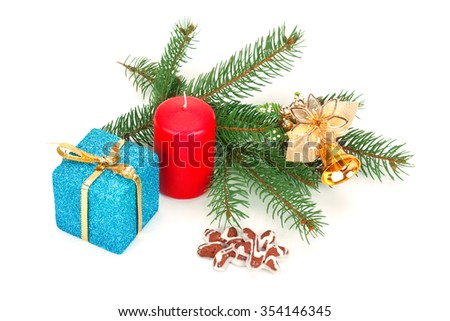 Christmas fir twigs, toys and gifts isolated on white background - stock photo