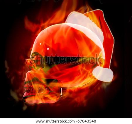 Christmas fire skull - stock photo
