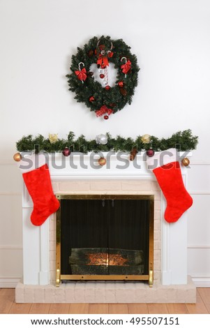 Christmas fireplace with Santa socks