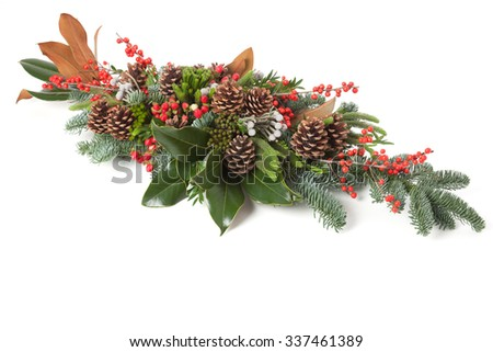 Christmas floral arrangement isolated on white