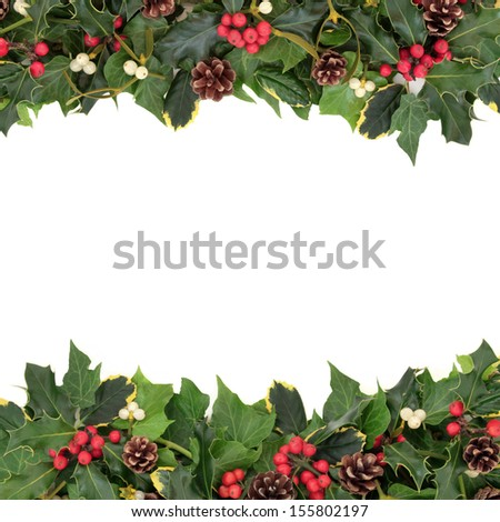 Christmas floral background border holly ivy stock photo 155802197 shutterstock for Holly and ivy border