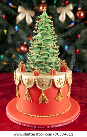 Christmas fondant cake - stock photo