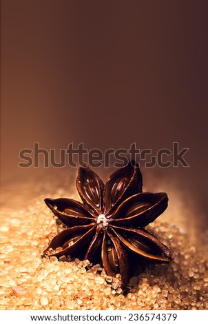 Christmas Food background with free copyspace for greeting text. Star Anise and  brown cane sugar on wooden background, close up. - stock photo