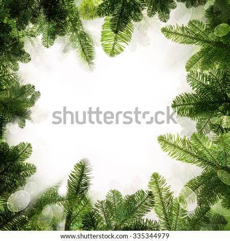Christmas Frame. Background Border of Green Xmas Tree Twig - stock photo