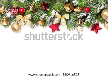 Christmas frame background with baubles decor and snow fir tree. Isolated on white background with copy space