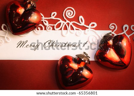 Christmas frame for greeting card with decorative ornaments